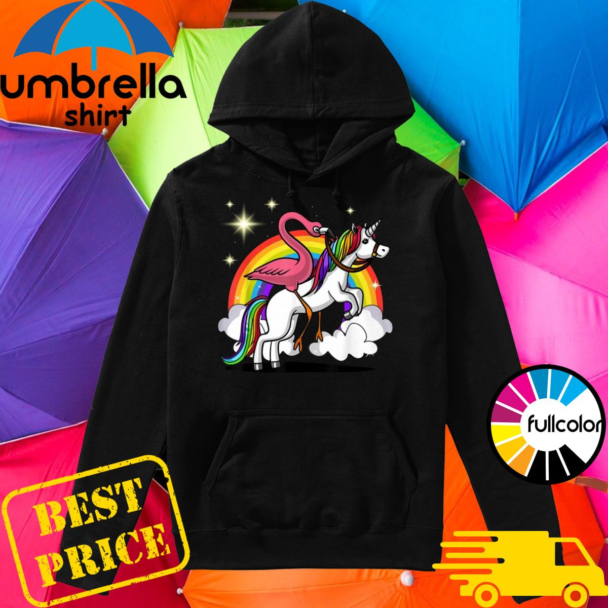 Official Flamingo Bird Riding Unicorn Magical Rainbow Shirt Hoodie