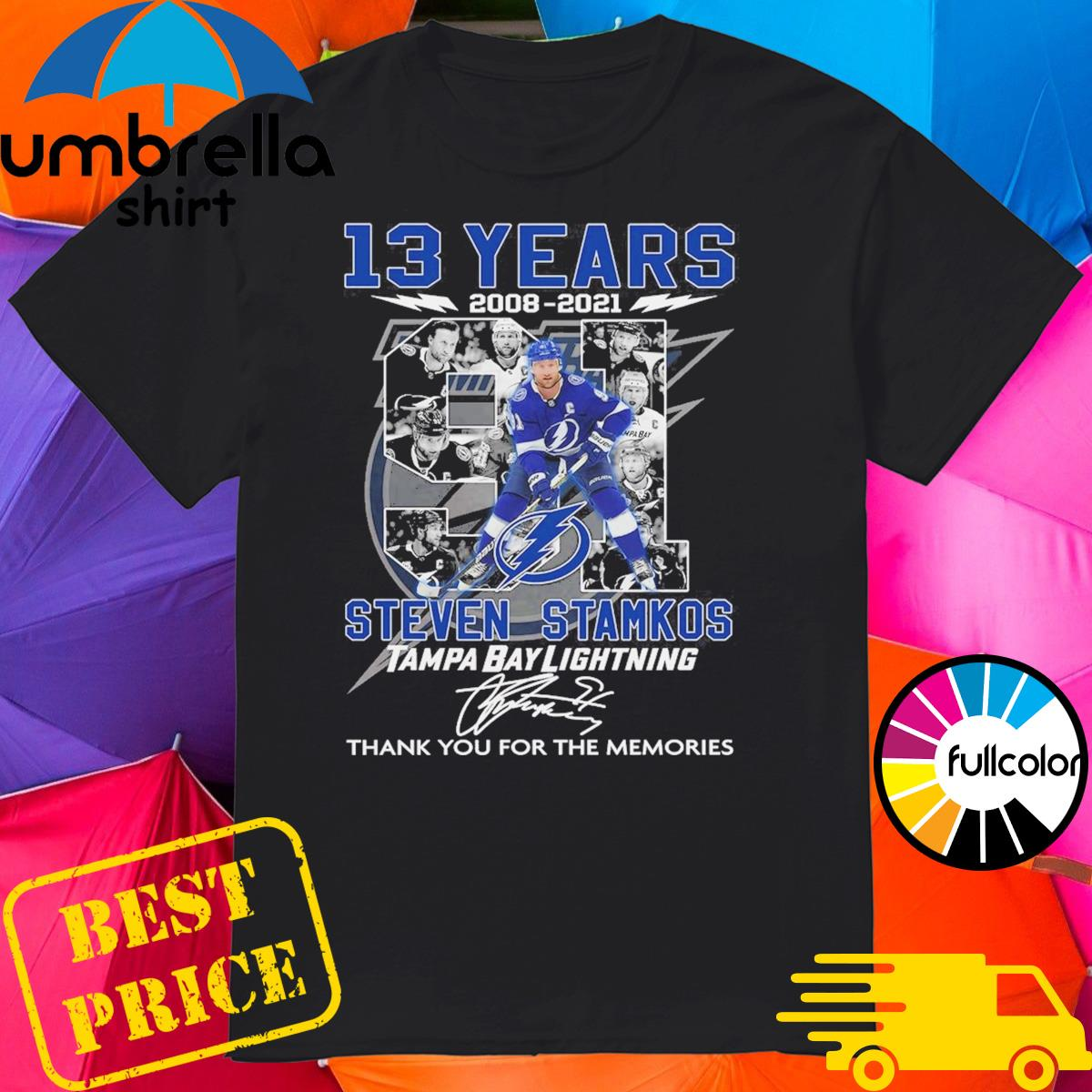 13 Years 2008 2021 The Steven Stamkos Tampa Bay Lightning Signature Thank You For The Memories Shirt