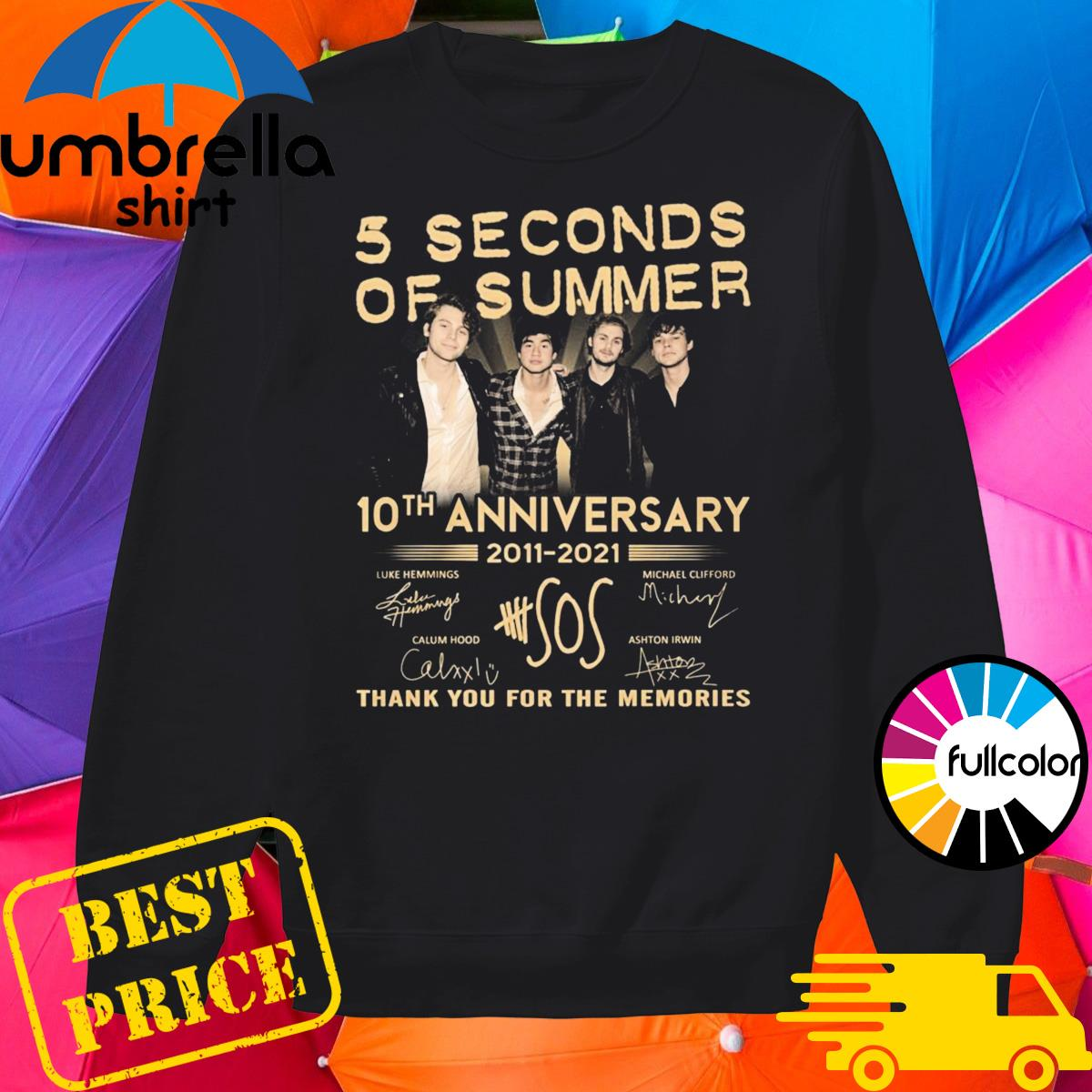 5 Seconds Of Summer 10th Anniversary 2011 2021 Signatures Thank You For The Memories Shirt Sweater