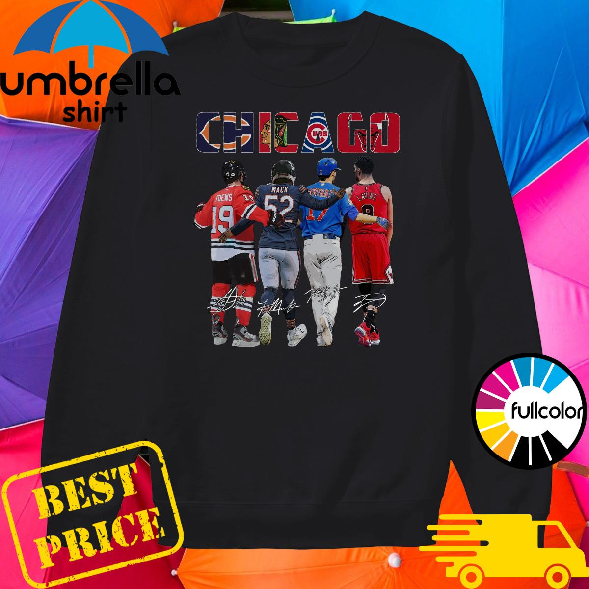 Chicago Sports Team Signatures With Chicago Bears, Chicago Blackhawks, Chicago Cubs, Chicago Bulls Shirt Sweater