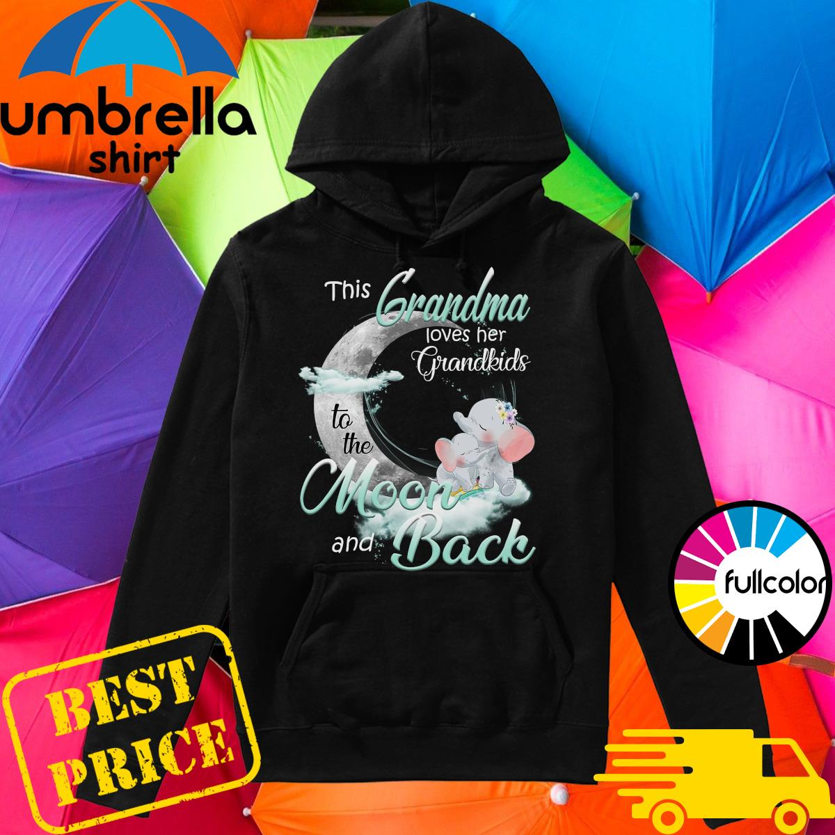 Cute Elephant This Grandma Loves Her Grandkids To The Moon And Back Shirt Hoodie