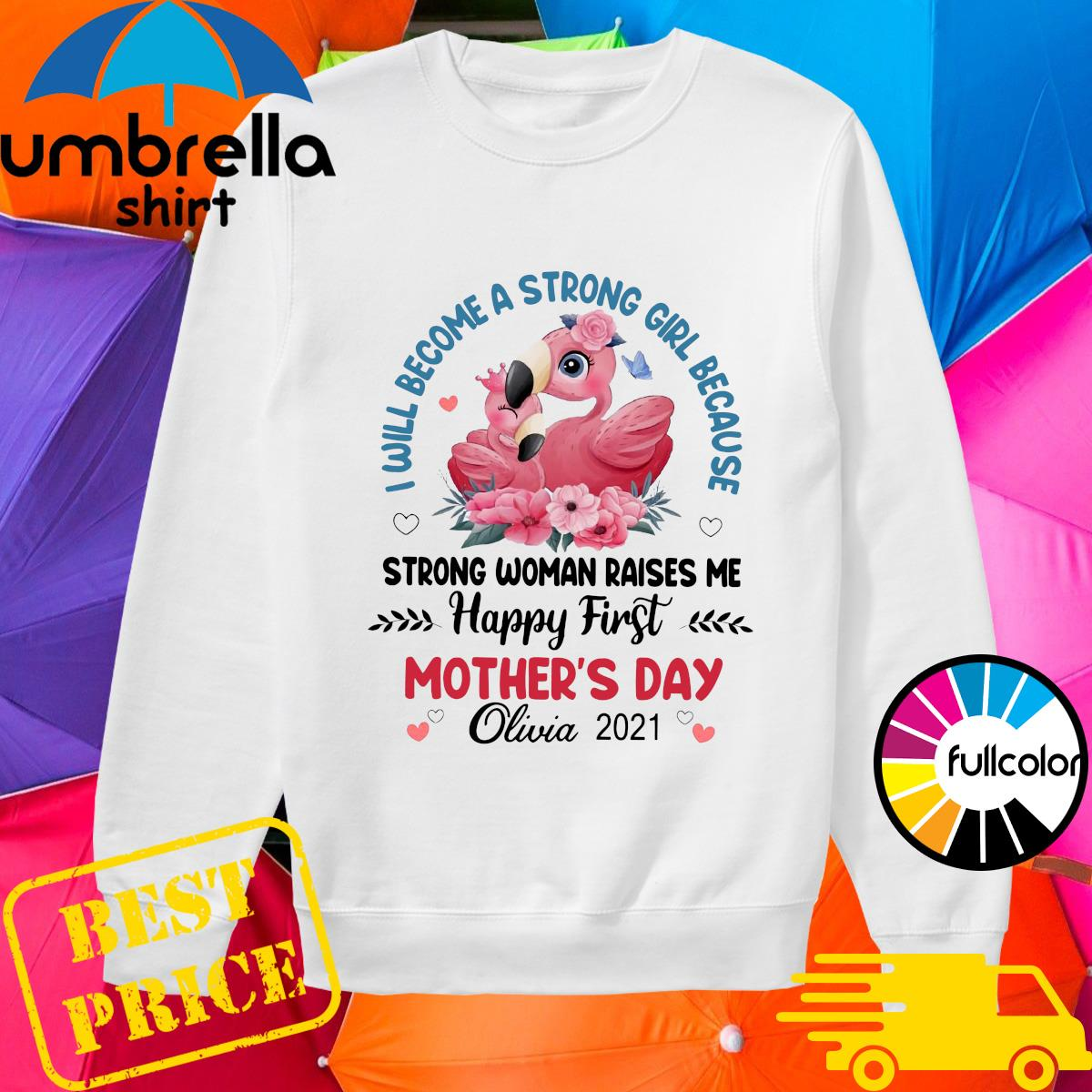 Flamingo I Will Become A Strong Girl Because Strong Woman Raised Me Happy First Mothers Day Shirt sweater