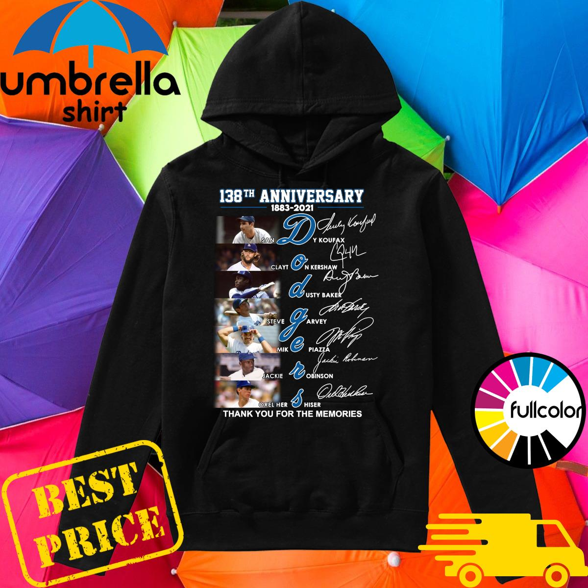 Official 138th Anniversary 1883 2021 Los Angeles Dodgers Signatures Thank You For The Memories Shirt Hoodie