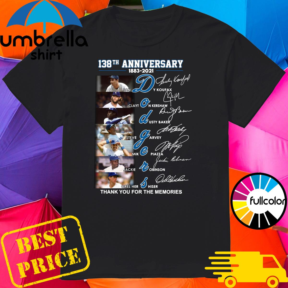 Official 138th Anniversary 1883 2021 Los Angeles Dodgers Signatures Thank You For The Memories Shirt