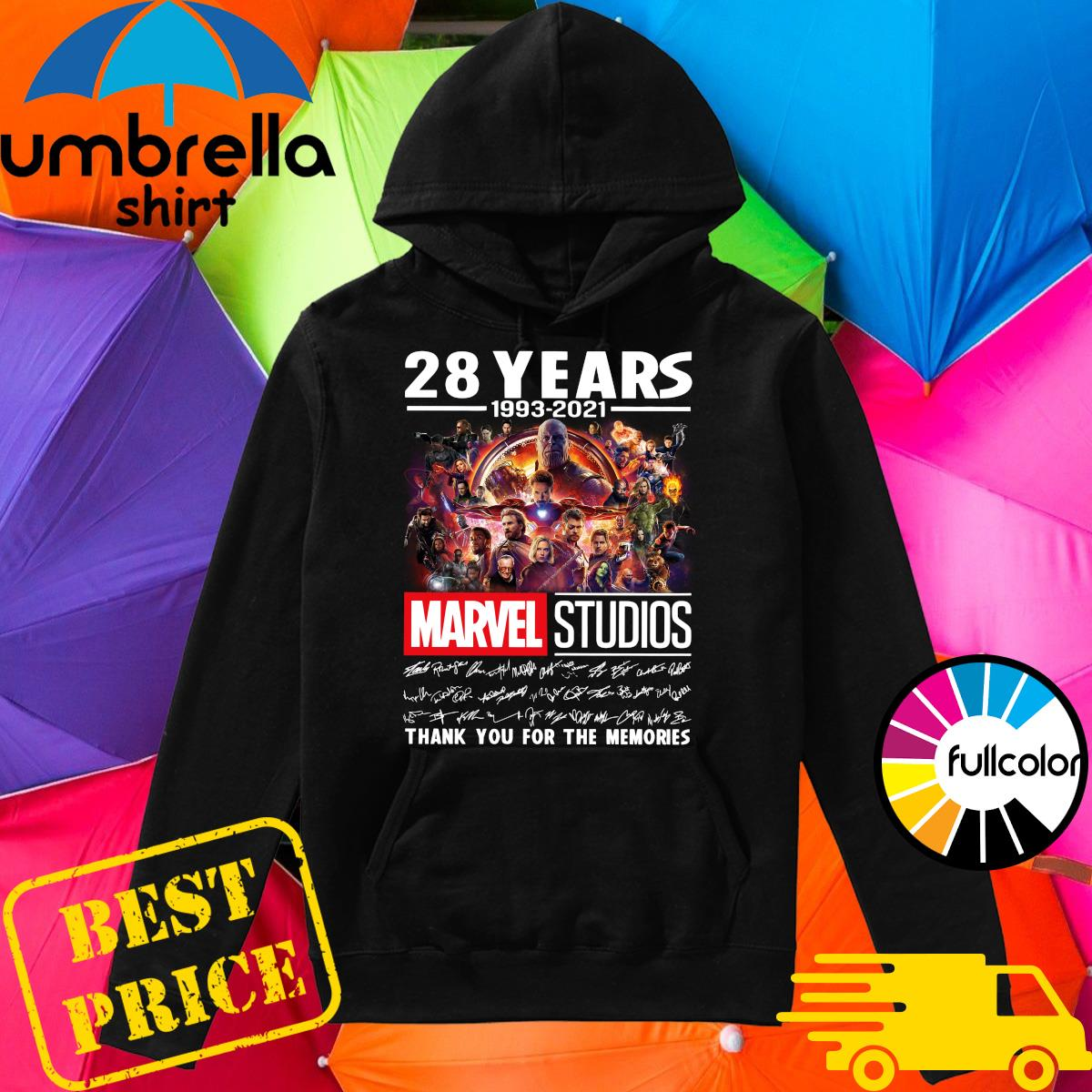 Official 28 Years 1993 2021 Of The Marvel Studios Characters Signatures Thank You For The Memories Shirt Hoodie