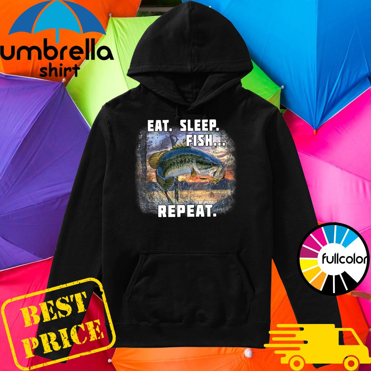 Official Eat Sleep Fish Repeat Shirt Hoodie